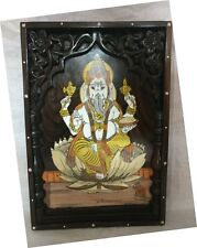Wall Hanging Panel Hindu God Ganesh Ganesha Wooden Statue Sculpture Gift