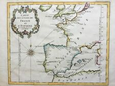 France and Spain 1754 Coastlines Portugal N Africa, by Bellin antique map