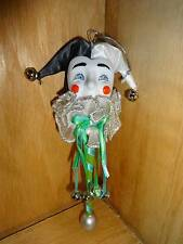 Kurt Adler Clown Jester on a Stick Christmas Tree Ornament 1995 Black White Face