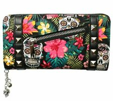 Banned Tropical Sugar Skull Colourful Hibiscus Purse Wallet Lovely Vegan Gift