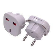 UK TO EU EURO EUROPE EUROPEAN TRAVEL ADAPTOR PLUG 2 PIN WHITE ADAPTER ABS UK