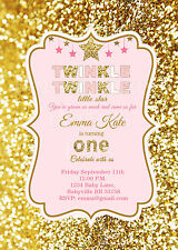 Twinkle Twinkle Little Star birthday Invitations in pink and gold