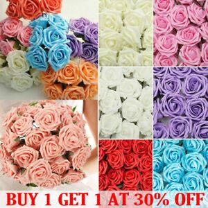 50Pcs Large 7CM Artificial Flowers Foam Rose Fake Wedding Party Bouquet Decor UK
