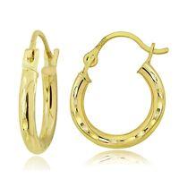 14K Gold 2mm Round Small Diamond-Cut Hoop Earrings, 12mm