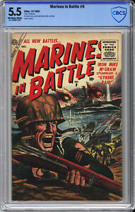 MARINES IN BATTLE #9  CBCS 5.5 - EXTREME RARITY: ONLY 2 ON CGC CENSUS - 1955