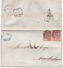 # 1862 2 x SINGLE 4d RED SG 79/80 CAT £300 EACH ON COVER =12= LONDON > AMSTERDAM
