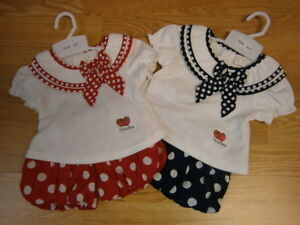 Baby Girl  Spanish style  Balloon short Top set red blue 3-6 m 6-9m 9-12months