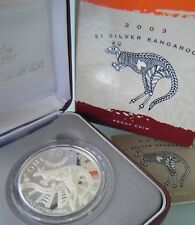 2003 Australia 1oz 0.999 Silver $1 Kangaroo Proof, in box with certificate