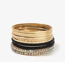 FOREVER 21 crystal rhinestone bangle bracelet  NWT gold Set
