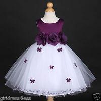 Plum Dark Purple Eggplant Wedding Flower Girl Dress 6M 12M 18M 2 4 5/6 7/8 9/10