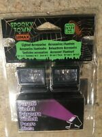 LEMAX Spooky Town Purple Lights Set of 2 Halloween Holiday Village Train Accent