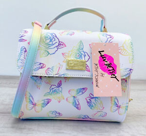 Luv BETSEY JOHNSON Rainbow Ombré Crossbody Butterfly Floral Roses Laney LBLANEY