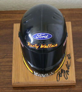 SIGNED Rusty Wallace 1994 1:4 Helmet Simpson - on wood base - Autograph/Auto