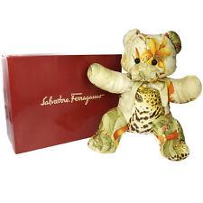 Auth Salvatore Ferragamo Bear Motif Gancini Doll Toy Multi-Color Silk 66A399