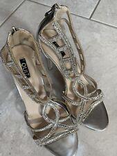 Quiz silver diamanté's sparkle high stiletto party shoes, UK 6