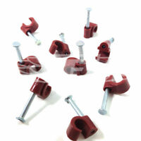BROWN 6-7mm COAXIAL CABLE CLIPS WITH FIXING NAILS AERIAL COAX SATELLITE TV PHONE
