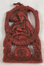 Vintage Red Wax Holy Religious Madonna Mother & Christ Child Christmas Ornament