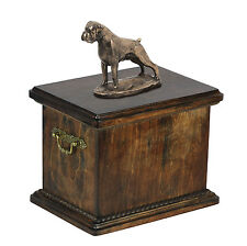 madera maciza Ataúd BOXER uncroped CONMEMORATIVO Urna para de perro cenizas, con