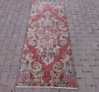 Bohemian Red Oriental Carpet Turkish Hand Knotted Vintage Ethnic Wool Rug 3x7 ft
