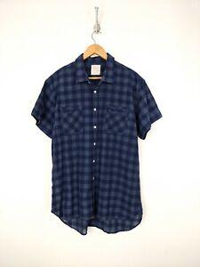 Billy Reid Button Up Shirt Men 2XL XXL Blue Plaid Linen Blend Standard Cut