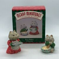 RARE 1996 NEW BUSY BAKERS CAT KITTEN MERRY MINIATURES MOUSE 2 PIECE ORNAMENT SET