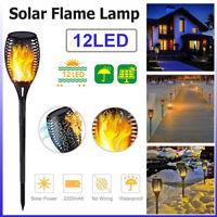 Outdoor Waterproof Solar Flame Light 12 LED Garden Torch Lamp Dancing Flickering