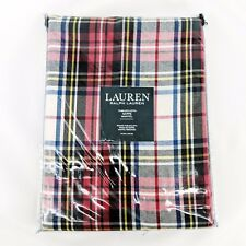 "Ralph Lauren Holiday Tablecloth 70"" ROUND Gretchen Tartan Plaid Ivory Christmas"