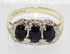 9ct Gold Blue Sapphire & Diamond Triple Cluster Ring size O