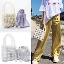 Ladies Handmade Handbag Pearl Beaded Bag Weave Totes Flowers Crystal Clutch Bags