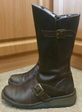 Fly London Leather Boots Size UK 3 Eur 36 Womens Dark Brown Boots