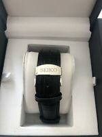 Seiko 20mm Black Leather Watch Strap With Deployment Butterfly Buckle/clasp
