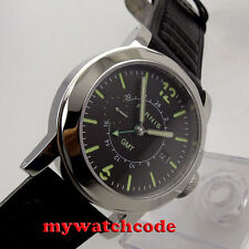 44mm Parnis black dial GMT Sapphire glass date window Automatic Mens Watch P707