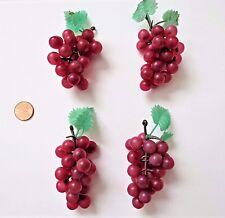 "Mini Grapes Lot of 4 Plastic Grapes Wedding Favor Fruit Wine Decor 3"" Red Grapes"