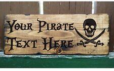 PIRATE SIGN PERSONALISED  SKULL CROSS-BONES PLAQUE PLATE Caribbean Sword Ship