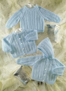 Baby DK Knitting Pattern Cardigan Hoodie Sweater Sizes 16 - 28 inches #83