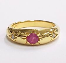 Victorian Style Gypsy Ring Natural Red Ruby and Diamond 18ct gold on 925 silver