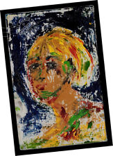 """""""Pushing Paint"""" 2002 Faces Series #7 ORIGINAL OIL PAINTING Signed ABSTRACT ART"""