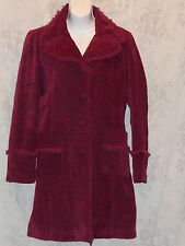 Big Chill Vintage Lined Frayed Edge Double Breasted Collar Red Bugandy Peacoat M
