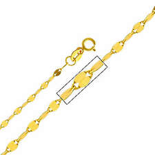 "14K Real Yellow Gold 2mm Twisted Mirror Chain Necklace - 18"" Inches for Women"