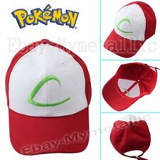 """Pokemon Satoshi Ash Ketchum First Hat with Green Stylized """"L"""" Red and White Cap"""