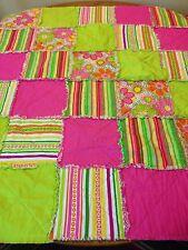 "Sewn Cotton Rag Quilt Bright Pinks Greens Handmade Throw Blanket 38"" X 45"" Gift"