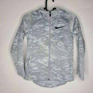 Nike Basketball Kids Digital Camo Print Dri-Fit Gray Zip Up Hooded Jacket Size S