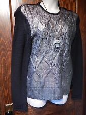 NARCISO RODRIGUEZ black cable knit IRIDESCENT SILVER FOIL SWEATER pewter top XL