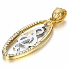 Gold Tone Stainless Steel Musict Note  Oval Hollow Pendant Necklace Womens Gifts