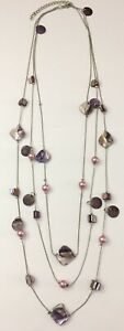 Silver Tone Multi Strand Chain Purple Mother of Pearl MOP Shell Beaded Necklace