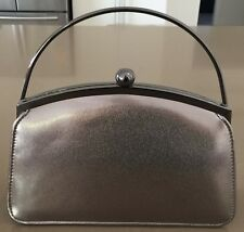 New With Tags OLGA BERG Pewter PU Top Handle & Chain Frame Evening Bag
