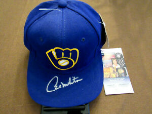 PAUL MOLITOR MILWAUKEE BREWERS SIGNED AUTO VINTAGE SS THE PRO WOOL CAP HAT JSA