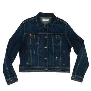 Amethyst Denim Blue Jean Jacket Distressed Dark Wash Junior Women's Size XL