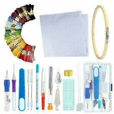 Embroidery Starter Kit Knitted Cross Stitch Crochet Pen Punch Needle Thread Hoop