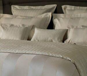 $925 Yves Delorme Queen Duvet Shams 3PC Set Cream Ivory Broad Stripes Sateen New